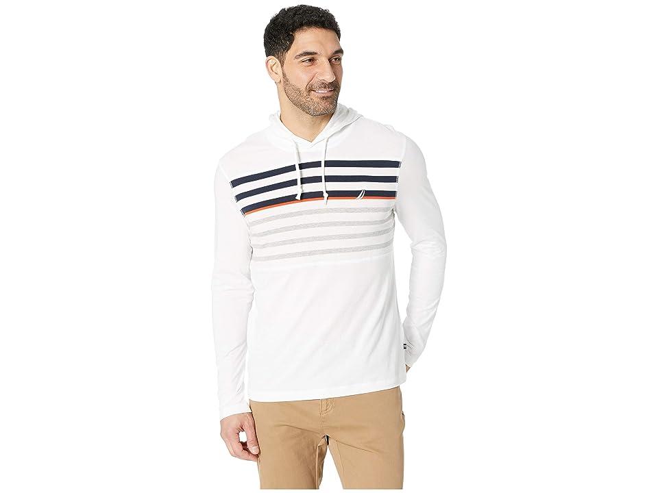 Nautica Long Sleeve Striped Beach T-Shirt Hoodie (Bright White) Men
