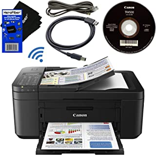 Canon PIXMA Pinter TR4527 Wireless All-in-One Compact Inkjet Printer, Copier, Scanner, Fax, Google Cloud Print & AirPrint + USB Printer Cable + HeroFiber Ultra Gentle Cleaning Cloth