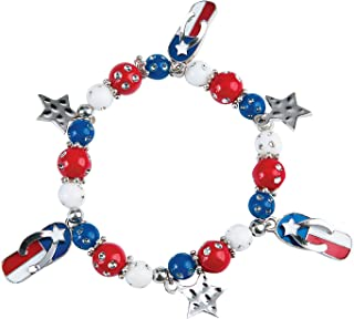 Fun Express - Flag Flip Flop Bracelet ck for Fourth of July - Craft Kits - Adult Jewelry Craft Kits - Adult Bracelet - Fourth of July - 2 Pieces