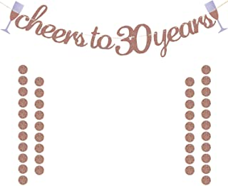 Glittery Rose Gold Cheers to 30 Years Banner for 30th Birthday Wedding Anniversary Party Decorations Supplies | Extra Rose Gold Glittery Circle Dots Garland