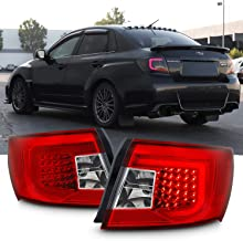 [2019 Upgrade LED]For 08-11 Subaru Impreza/WRX Taillights With Red Bar Housing - Red Chrome