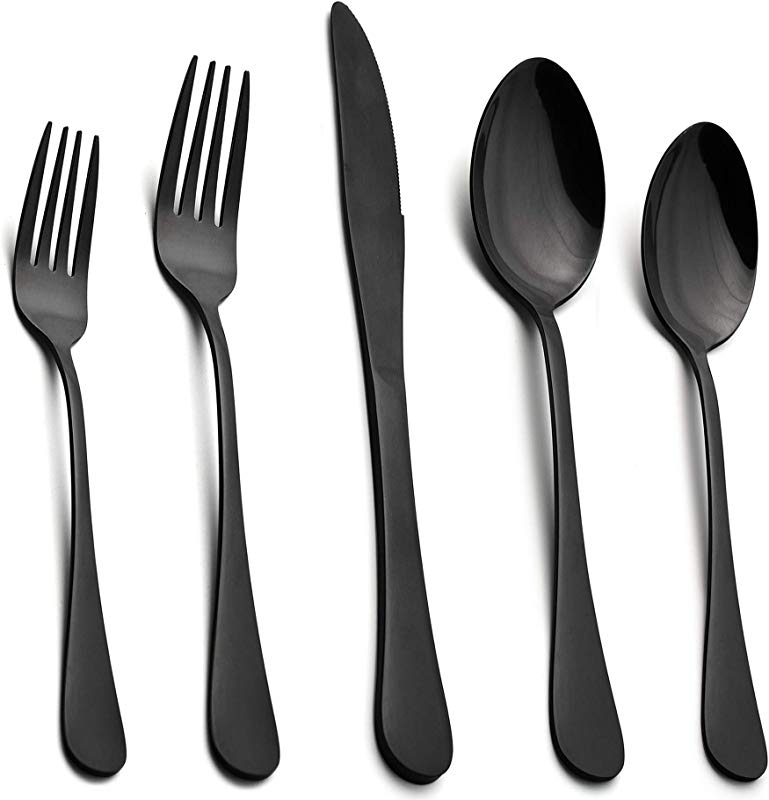 Black Flatware Silverware Set LIANYU 40 Piece Stainless Steel Cutlery Set For 8 Restaurant Party Tableware Eating Utensils Mirror Finish Dishwasher Safe