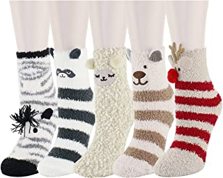Cute Fuzzy Colorful Fluffy Warm Indoors Slipper Socks, Christmas Gifts for Women
