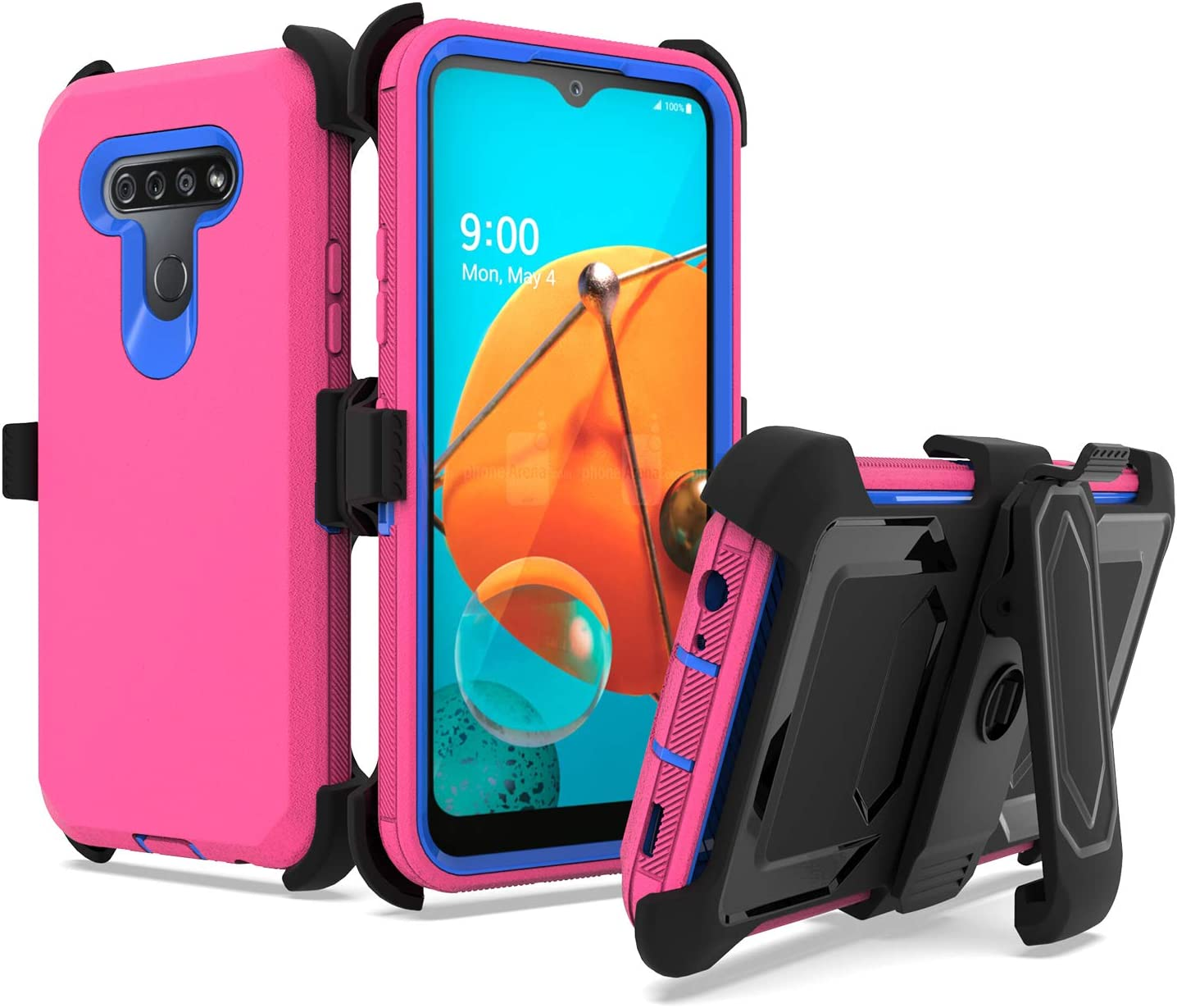 UNC Pro 3 in 1 Belt Clip Holster Cell Phone Case for LG K51/LG Q51/LG Reflect, Heavy Duty Hybrid Shockproof Bumper Case with Kickstand, Hot Pink/Blue