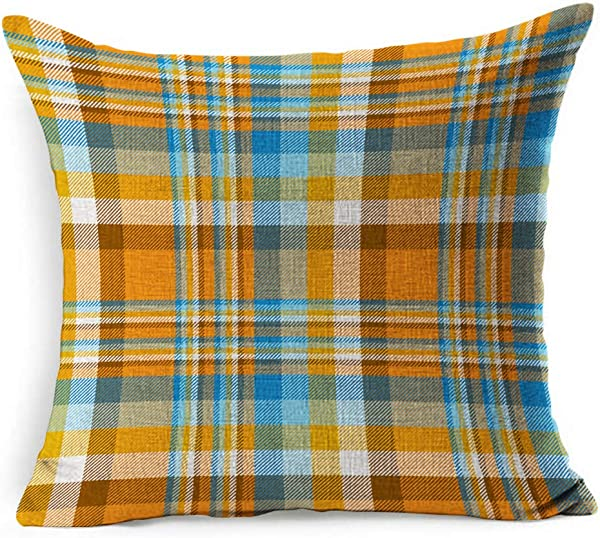 Ahawoso Linen Throw Pillow Cover Square 20x20 Yellow Border Geometric Plaid Check Pattern Orange Blue Abstract Pyjamas Table British Checker Classic Flannel Pillowcase Home Decor Cushion Pillow Case