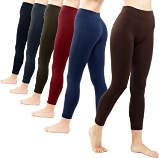Free to Live 6 Pack Seamless Fleece Lined Leggings for Women - Winter, Workout & Everyday Use - One Size