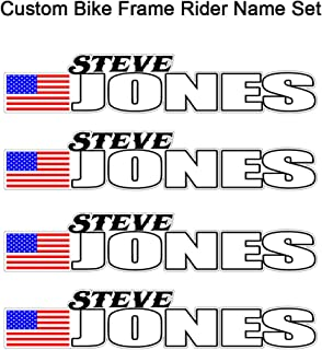 4 Piece Custom Bicycle Frame Name USA Decal Sticker Set Boston Style - Road Bike Cycling Mountain Bike