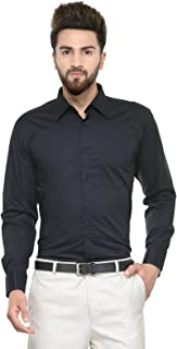 HANCOCK Black Solid Pure Cotton Double Cuff with Cufflink Regular Fit Formal Shirt