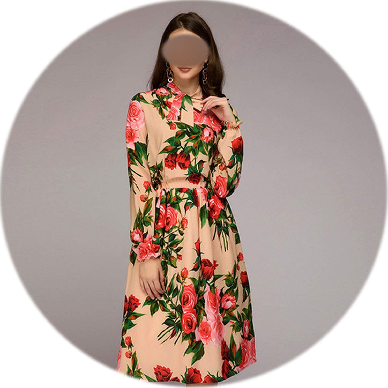 Glittering time Print Waist Elasticity Dresses Women Spring Slim Breathable Loose Ruffle Sleeve Dress Elegnt Bow Collar