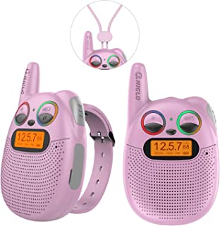 QNIGLO FRS Walkie Talkies with FM, Wearable & Rechargeable Walkie Talkies for Kids, up to 2 Miles Kids Walkie Talkies for Bicycle, Hiking, Camping, Running (2 Packs, Pink)