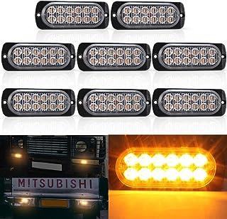 Biqing 8 szt. światła na kratkę samochodową, uniwersalne światła ostrzegawcze 12 LED światła ostrzegawcze stroboskopowe mi...