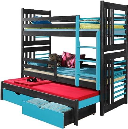 Triple Bunk Bed Rolo Modern Trundle High Sleeper Mattress Drawers Ladder 3 Children Pine Wood Right Hand Side Uk Single Standard Size Amazon Co Uk Home Kitchen