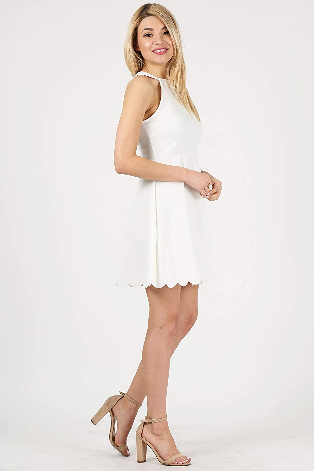 Simlu Womens Skater Halter Neck Dress with Scalloped Hem Cocktail Party Dress Reg. and Plus Size