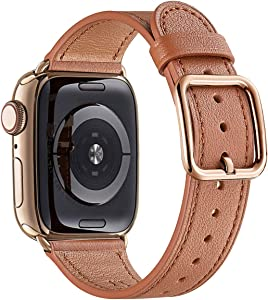 MNBVCXZ Compatible with Apple Watch Band 38mm 40mm 42mm 44mm Women Men Girls Boys Genuine Leather Replacement Strap for iWatch Series 6 5 4 3 2 1 iWatch SE(Brown/Rose gold, 38mm 40mm)