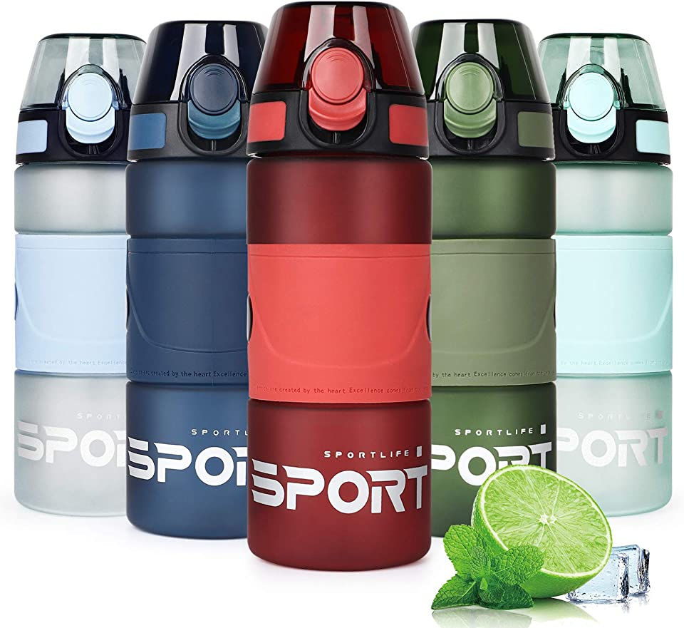 Water Bottle with Straw BPA-Free 500ml&750ml Sports Water Bottle Leakproof Tritan Reusable Drinking Bottle for Gym, Fitness, Yoga, Running, School and Camping (Red, 500ml)