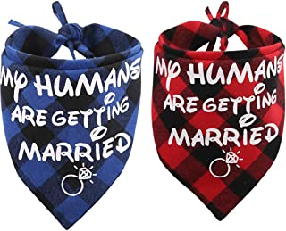 KZHAREEN 2 Pack My Humans are Getting Married Dog Bandana Printing Plaid Wedding Reversible Triangle Bibs Scarf Accessories for Dogs Cats