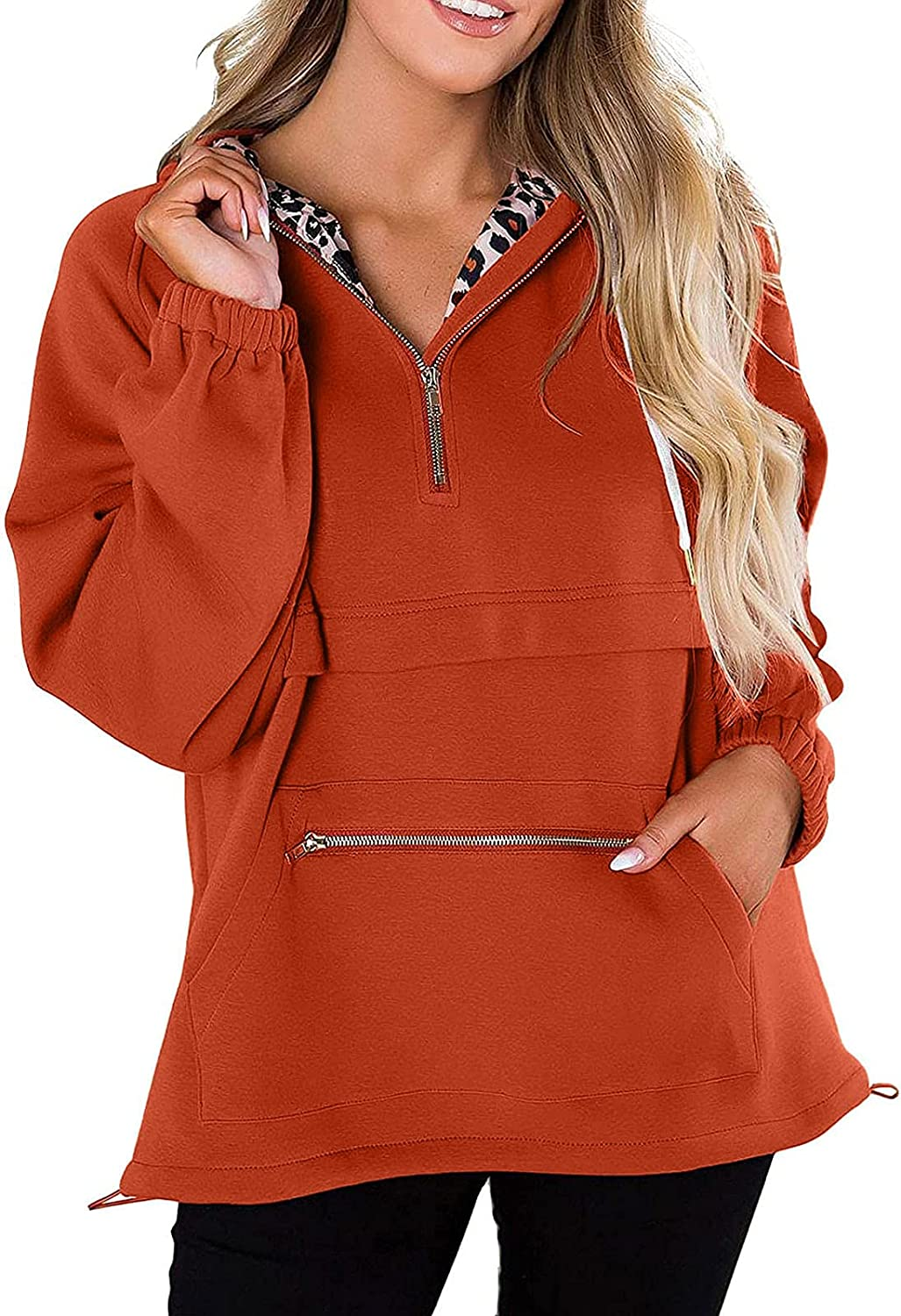 Women's Fashion Sweatshirt Pullover Long Sleeve Tunics Solid Color Hoodie Blouse Tops