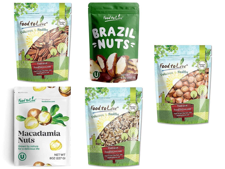 Keto Raw Nuts in a Gift Box - Pecans, Brazil Nuts, Macadamia Nuts, Walnuts, Hazelnuts