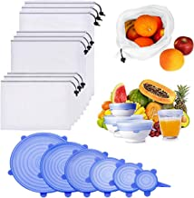 Silicone Stretch Lids and Reusable Mesh Produce Bags,15 Pack Reusable Durable Expandable BPA Free Containers for Shopping ...