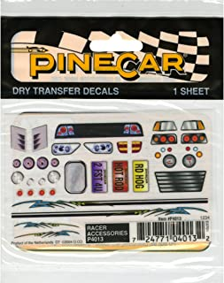 Woodland Scenics P4013 Pine Car Derby Dry Transfer Decal 3 by 2.5-Inch Sheet, Racer Accessories