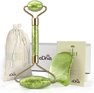 eDiva Natural Jade Roller - Gua Sha - Lymphatic Drainage Tool for Face, Neck, Body - Anti Aging Treatment - Reduces Wrinkles and Fine Lines