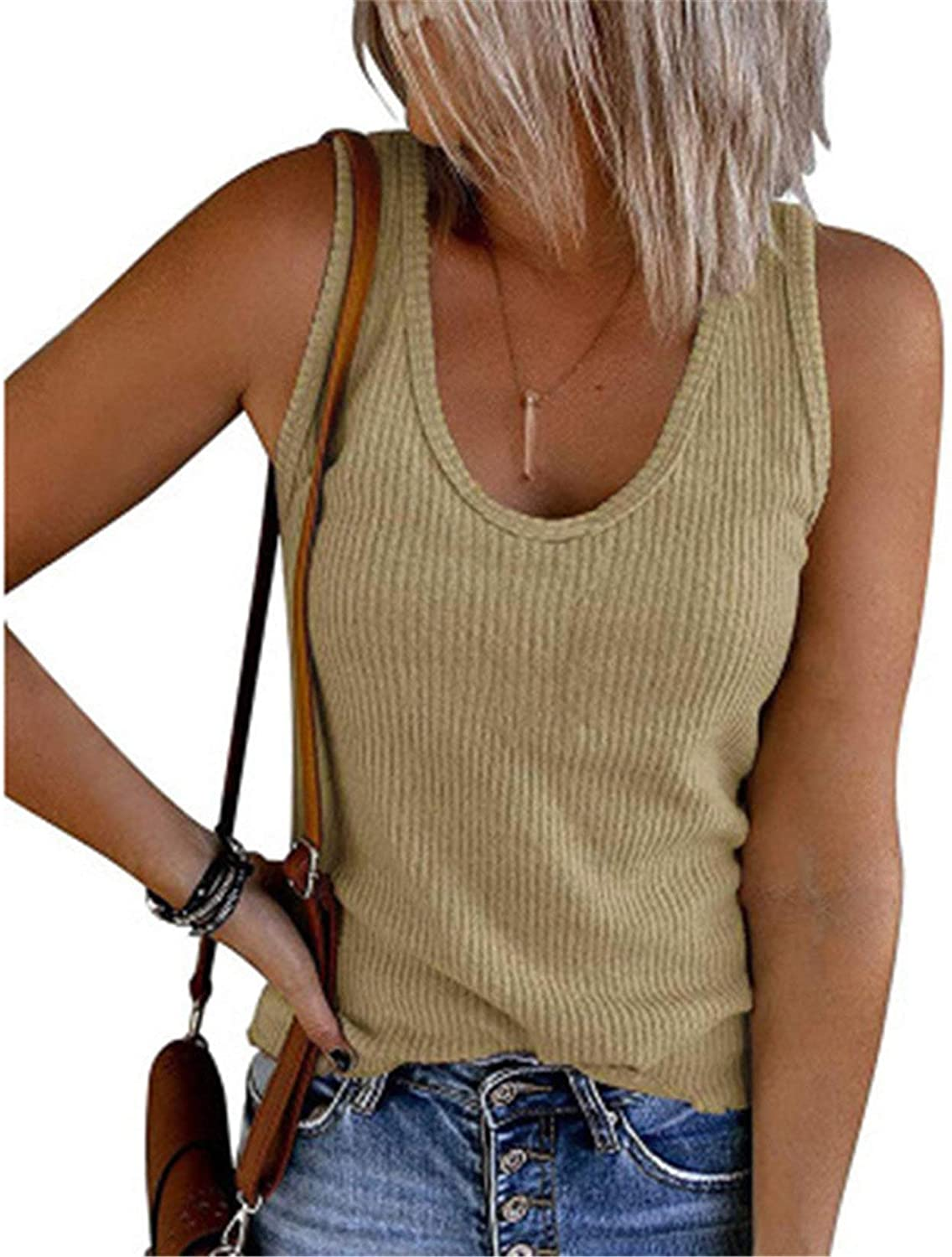 Womens V Neck Tank Tops Ribbed Sweater Vest Knit Sleeveless Casual Pullover Sweaters Shirts Blouse (Khaki,XX-Large)