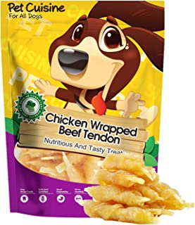Pet Cuisine Chicken Wrapped Beef Tendon Dog Treats,Puppy Chews Dog Training Treats,Natural and Soft Chicken Treats for Dogs