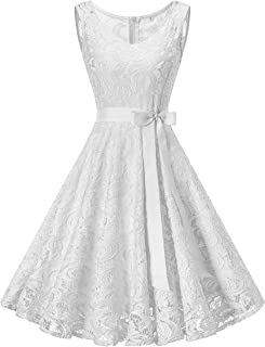 Dressylady Women's V Neck Floral Lace Bridesmaid Dress Short Prom Party Gowns Sleeveless