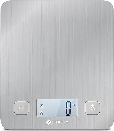 Etekcity EK6212 Kitchen Food Digital Scale Cooking Multifunction Weight Scale,  Large Platform 11lb 5kg,  Batteries Included (Stainless Steel)