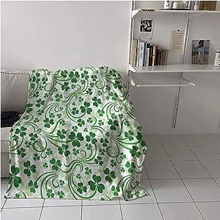 WodCht Shamrock Fabric The Yard Blanket Cozy,Lucky Celtic Clovers Swirls Monochrome Irish Design St Patricks Day,Lightweight All-Season Blanket,Microfiber All Season Blanket 54