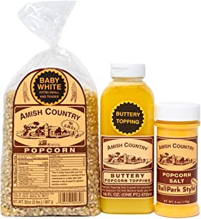 Amish Country Popcorn- 2 Lb Baby White, Buttery Topping & Buttersalt -Old Fashioned, Non GMO, Gluten Free with Recipe Guide