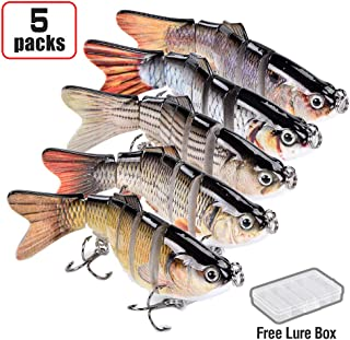 Alilure Fishing Lures Bass Lures, Pack of 3, 6 Segment, Carbon Steel Anchor Hook, Lifelike Multi Jointed Artificial Swimbait