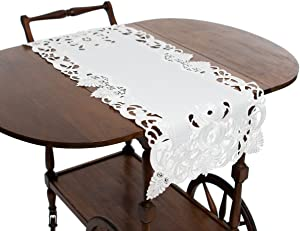 Xia Home Fashions Delicate Lace Embroidered Cutwork Table Runner, 16 by 34-Inch, 16