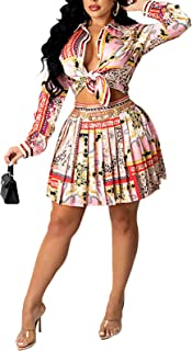 Sponsored Ad - Yisfri Women 2 Piece Skirt Sets Floral Print Long Sleeve Button Shirt and Pleated Skirt Outfits Work Clothes