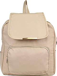 TIP TOP FASHION Women's Canvas Backpack (Cream)