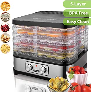 Food Dehydrator Machine, Fruit Dehydrators with 5-Tray, for Beef Jerky, Herbs, Fruit Leather, Temperature Control, BPA FREE