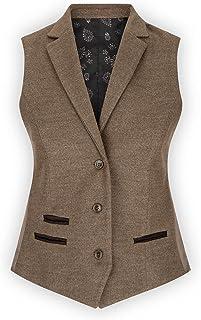 TruClothing.com Womens Tweed Blazer Jacket 1920s Vintage Elbow Patch Waistcoat Blinders Tan