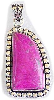 Pink Obsidian Pendant, Silver Plated Brass Pendant, Handmade Pendant, Gift Jewelry, Women Jewellry, Fashion Jewellry, BRS-...