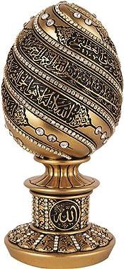 Islamic Table Decor Gift Egg Sculpture Statue Muslim Showpiece Home Decor Gifts Eid Ramadan Arabic Ayatul Kursi (7.5in Gold)