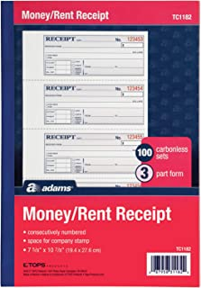 Adams Money and Rent Receipt Book, 3-Part, Carbonless, White/Canary/Pink, 7-5/8