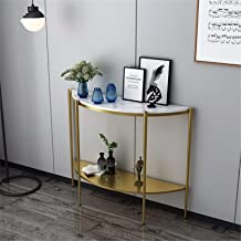 Entryway Hallway Table European Style Simple Semicircular Porch Wrought Iron Corridor Wall Shaped Porch Table (Color : Gol...