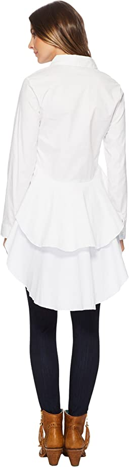 Bay Stretch White Cotton Pure Fun Hi-Lo Blouse