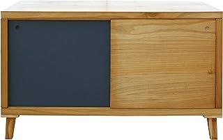 Mobili Rebecca® Meuble TV Support Télévision Armoire Basse 2 Portes Bois Marron Gris Style Moderne Entrée Salon (Cod. RE6055)