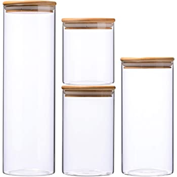 High Borosilicate Glass Cylinder Airtight Food Storage Container Canister Jar with Bamboo Lid & Silicone Sealing Ring (set of 4)