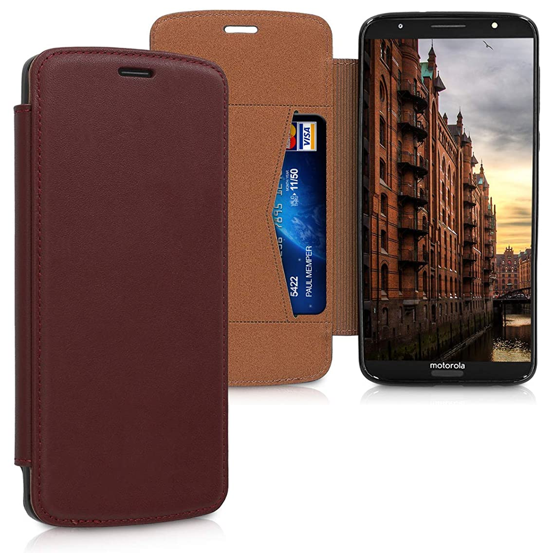 kalibri Leather Flip Case for Motorola Moto G6 Plus - Wallet Style Protective Smartphone Cover in Bordeaux