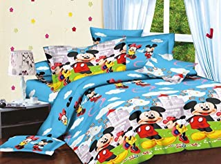 Om enterprises Micky Mouse 3D-Cartoon Polycotton Print Double Bedsheet With 2 Pillow Covers-Multicolor