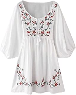Women's Bohemian Embroidery Floral Tunic Shift Blouse Flowy Mini Dress