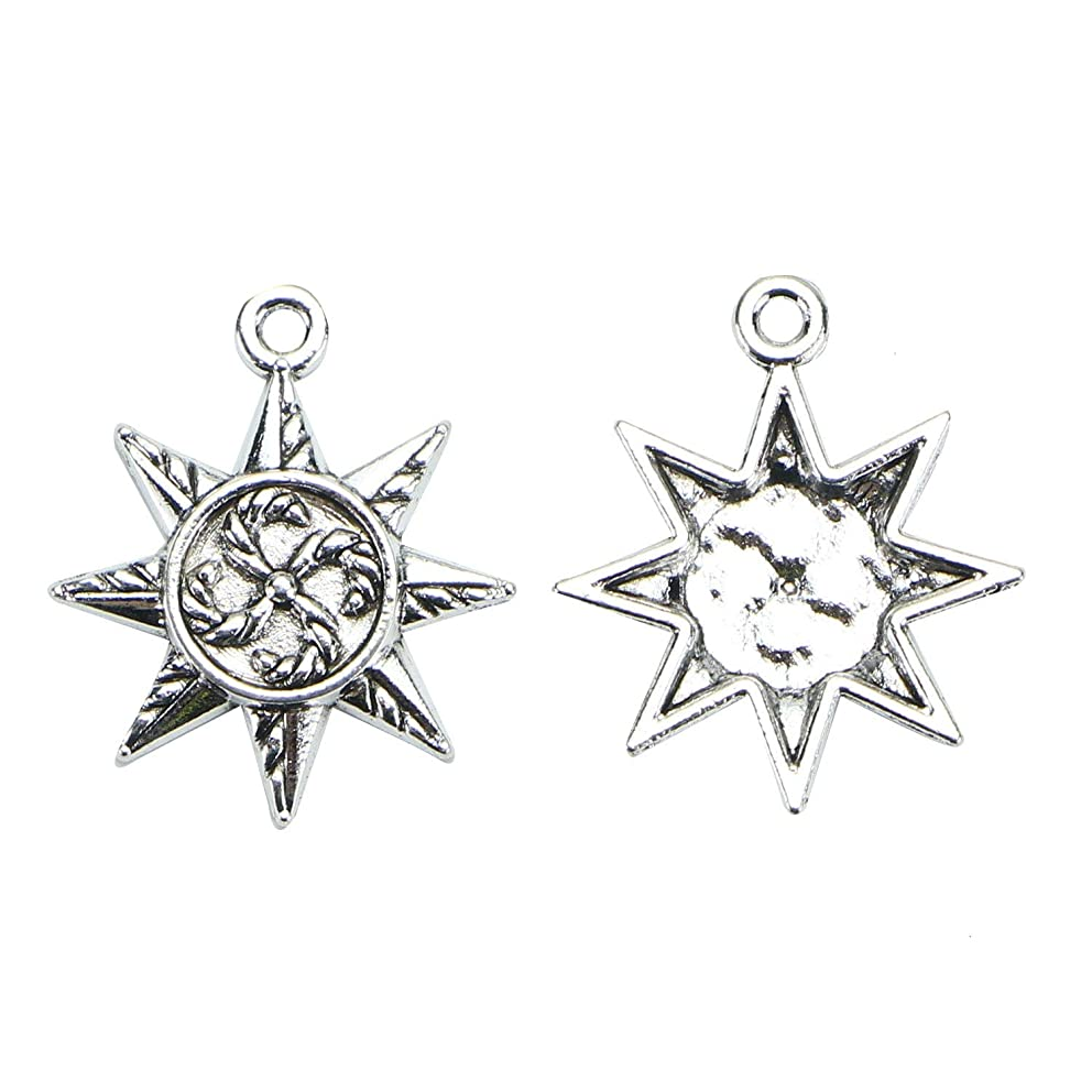 Monrocco 100pcs Metal Sun Charms Pendants for Earring Bracelet Jewelry Making Keychain 2023mm(Antique Silver)