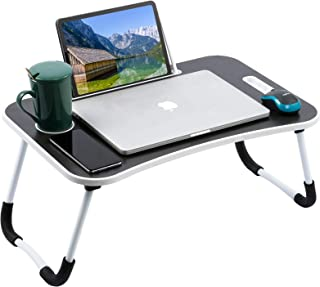 Laptop Table for Bed,LUOWAN Laptop Table Portable laptop bed tray Notebook slot with Foldable Legs & Cup Slot and Handle,B...