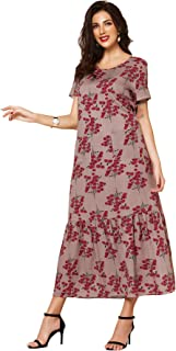 MAI&FUN Women's Long Dress Short Sleeve Maxi Dresses For Beach Floral Print Red